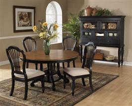 Wilshire 7pc Round Dining Set Rubbed Black