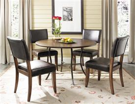 Cameron 5pc Round Dining with All Metal Base Table with Wood Top and Parson Chair