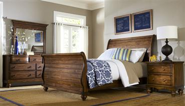 Hamptons 4pc King Bedroom Set - Dark Pine
