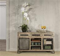 Bridgewater 2 Door Cabinet with 1 Wire Door, 1 Solid Door - Brushed Tan Wood