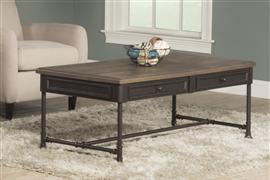 CASSELBERRY COFFEE TABLE (PIPE LEG) - DISTRESSED WALNUT / BROWN METAL