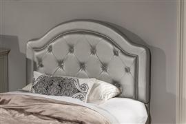 KARLEY HEADBOARD - FULL - EMBOSSED SILVER WITH GLASS BUTTONS
