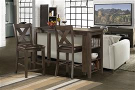 Spencer 3-Piece Counter Height Dining with X-Back Non-Swivel Stools - Dark Espresso (Wirebrush)