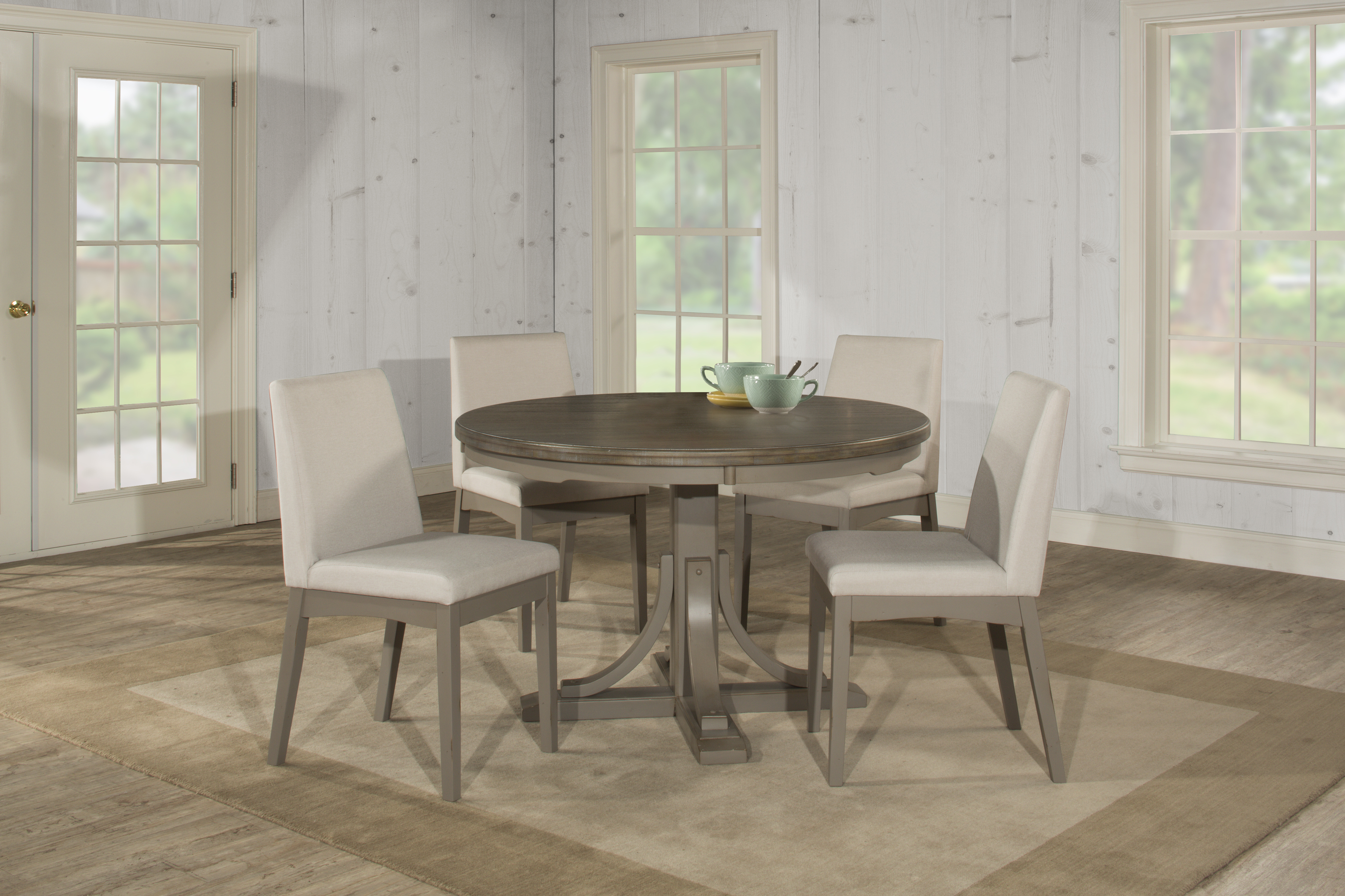 Clarion 5 Piece Round Dining Set With Upholstered Chairs   Distressed Gray