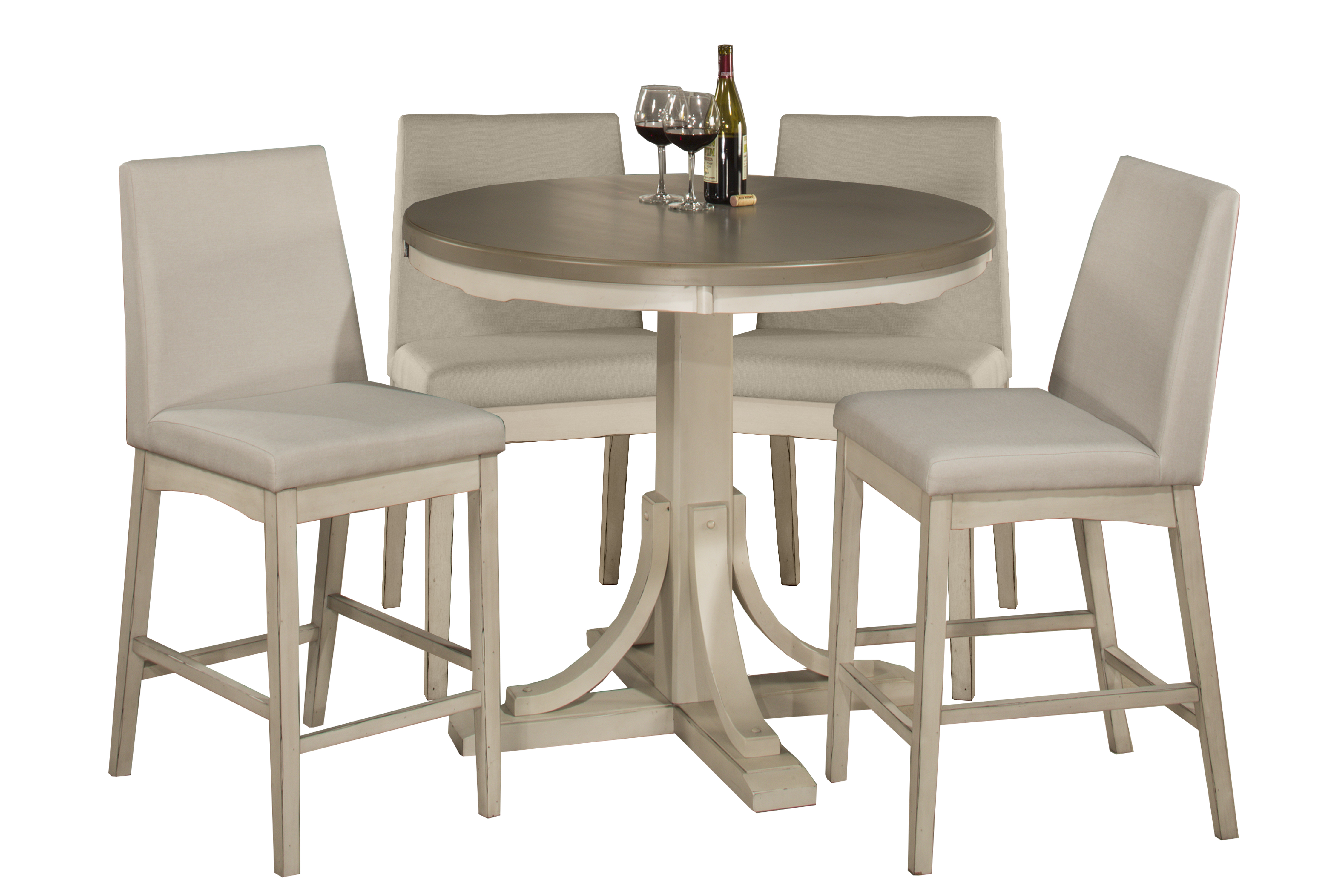 Clarion 5 Piece Round Counter Height Dining Set With Parson Stools    Distressed Gray Top With Sea Wh