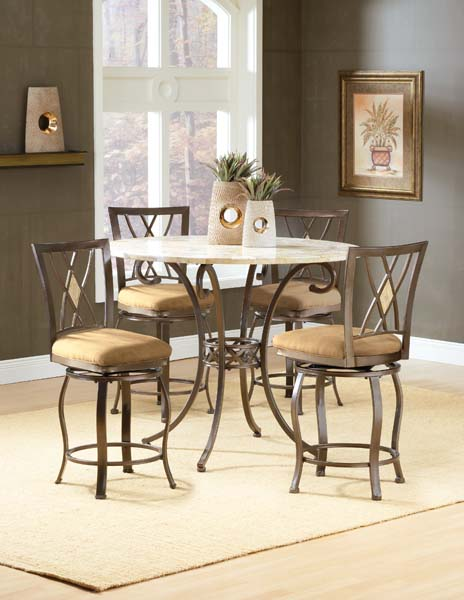 Brookside 5pc Counter Height Set w/ Diamond Stools