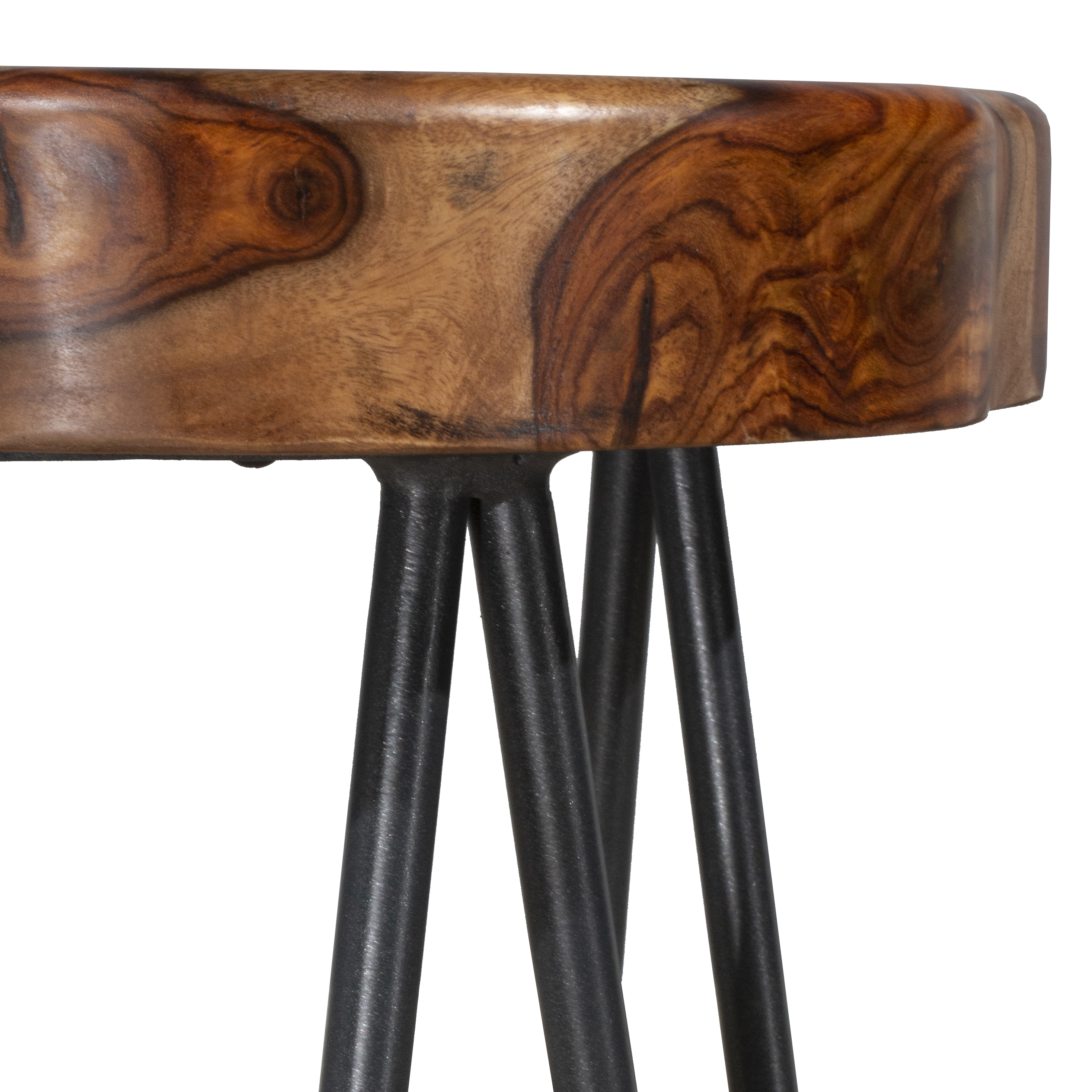 Picture of: Pembra Backless Bar Height Stool With Wood Seat Natural Sheesham