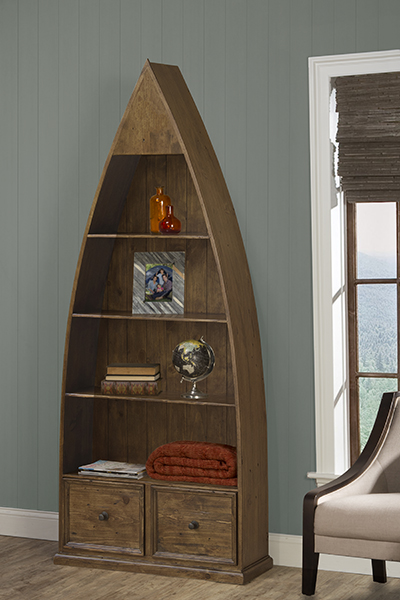 Tuscan Retreat Dinghy Boat 4 Shelves Bookcase With Drawers Antique Pine