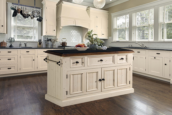 Bon Tuscan Retreat® 3 Drawer 4 Door Large Granite Top Kitchen Island   Country  White With Antique Pine T