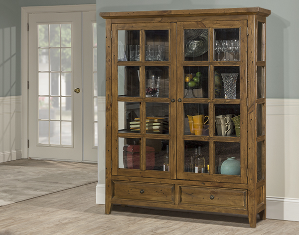 Tuscan Retreat® Display Cabinet 2 Doors 2 Drawers With Clear Glass    Antique Pine