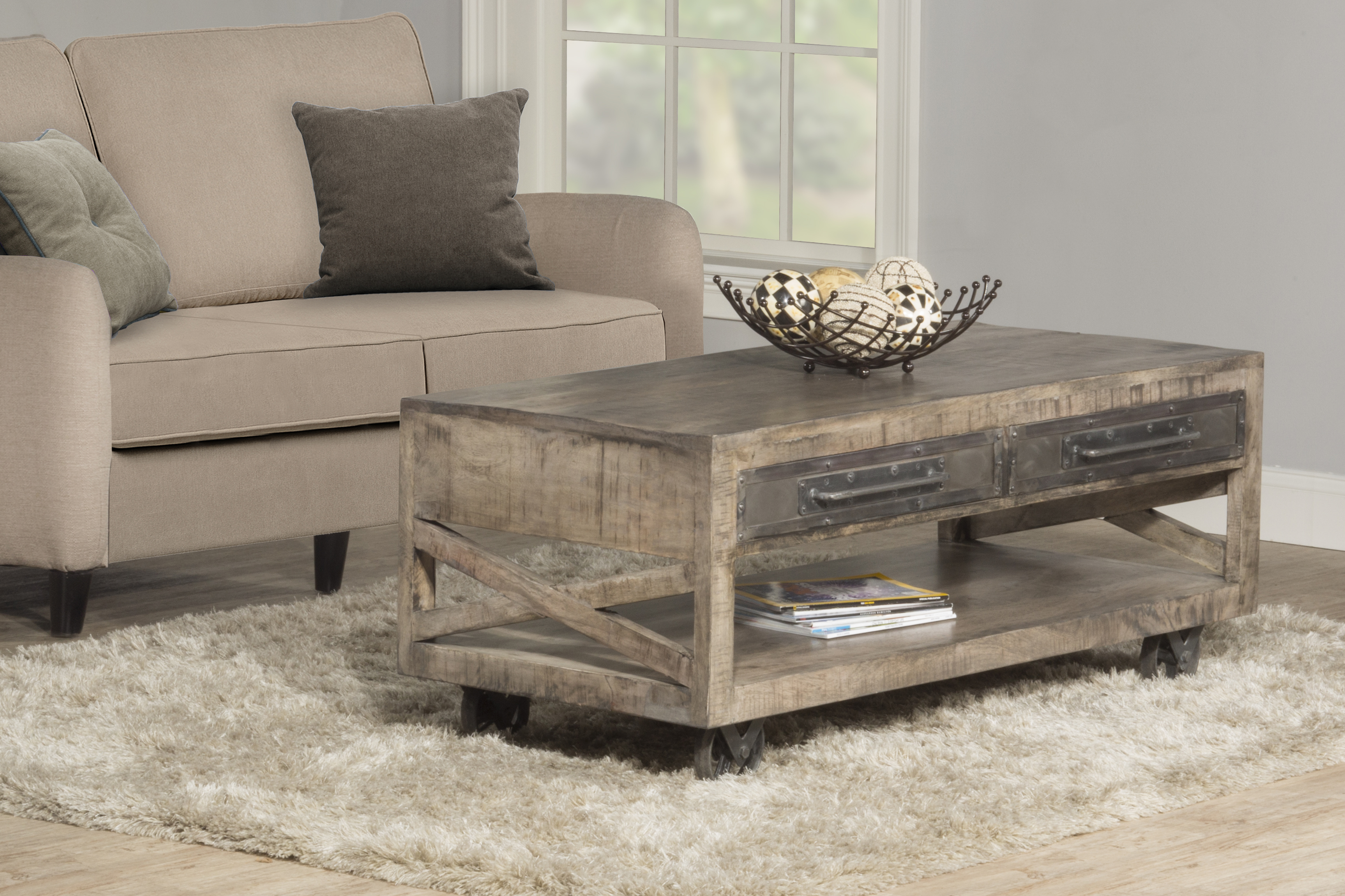 Bridgewater Coffee Table with Casters Brushed Tan Wood